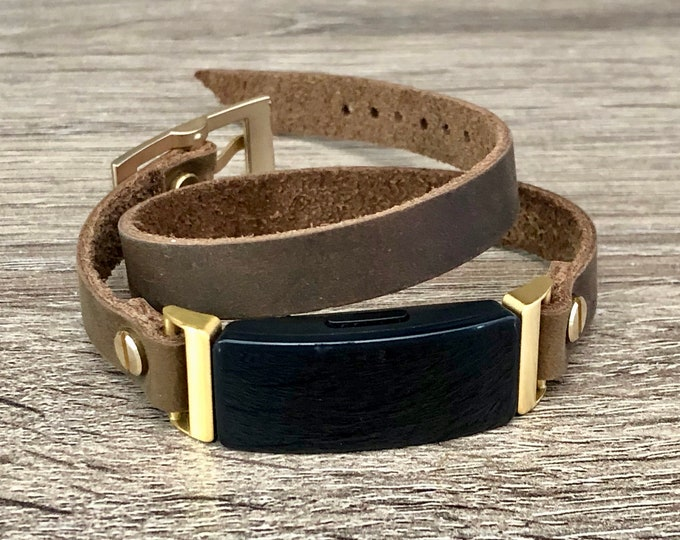 Leather Fitbit Inspire Band Gold Fitbit Inspire HR Bracelet Genuine Vintage Brown Leather Strap Fitbit Inspire Jewelry Wristband