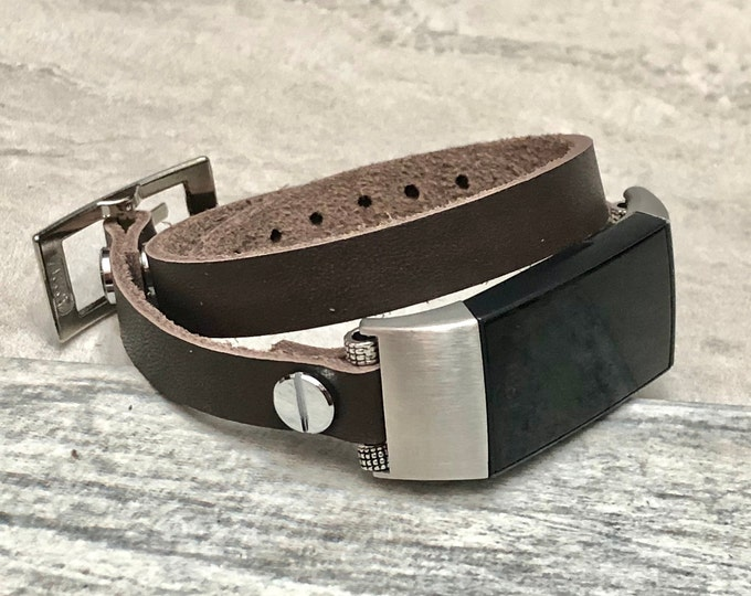 FITBIT CHARGE 3 Band Brown Double Wrapped Fitbit Charge 3 Strap Bracelet Stainless Steel Fitbit Charge 3 Leather Band Women FITBIT Strap