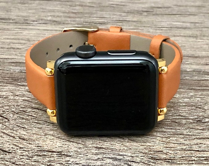 Gold Apple Watch Bracelet 38mm 40mm 42mm 44mm Slim Brown Vegan Leather Apple Watch Band Adjustable Soft Leather Wristband iWatch Strap