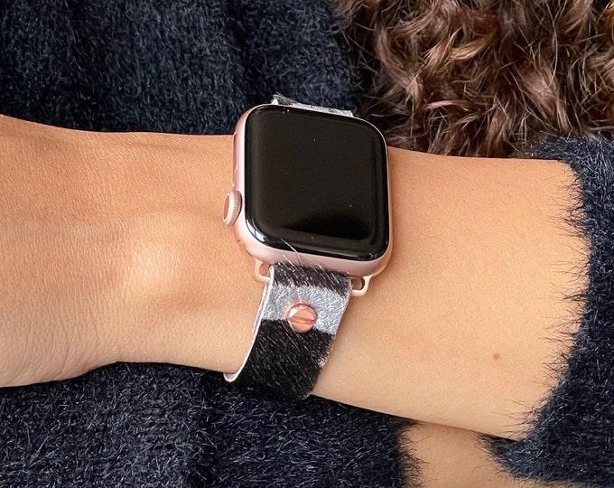Leather Apple Watch Band 38mm 40mm 42mm 44mm Soft Zebra Print Strap Band Rose Gold iWatch Bracelet Adjustable Wristband Women Cuff Jewelry