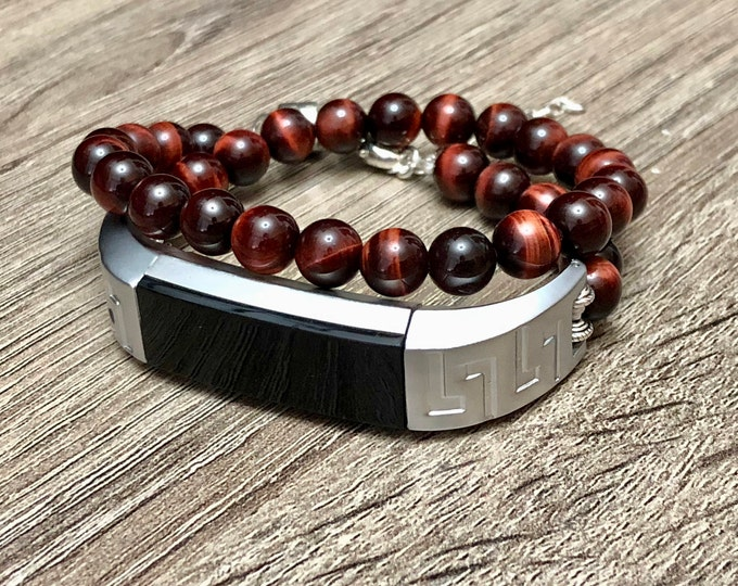 Luxury Red Tiger Eye Bracelet for Fitbit Alta HR Activity Tracker Handcrafted Fitbit Alta HR Jewelry 925 Sterling Silver Earth Magnet Clasp