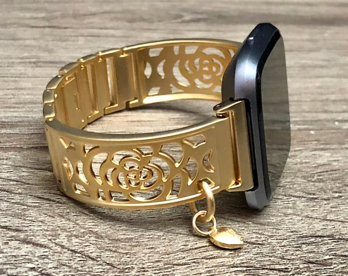 Gold Fitbit Versa 2 Watch Band Women Fitbit Versa Lite Band Watch Gold Heart Pendant Bracelet Adjustable Fitbit Versa Watch Bangle Jewelry