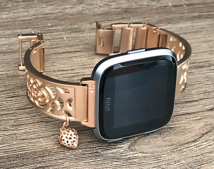 Fitbit Versa 2 Watch Band Rose Gold Fitbit Versa Lite Watch Band Adjustable Fitbit Versa Bangle Women Fitbit Versa Jewelry Heart Medallion