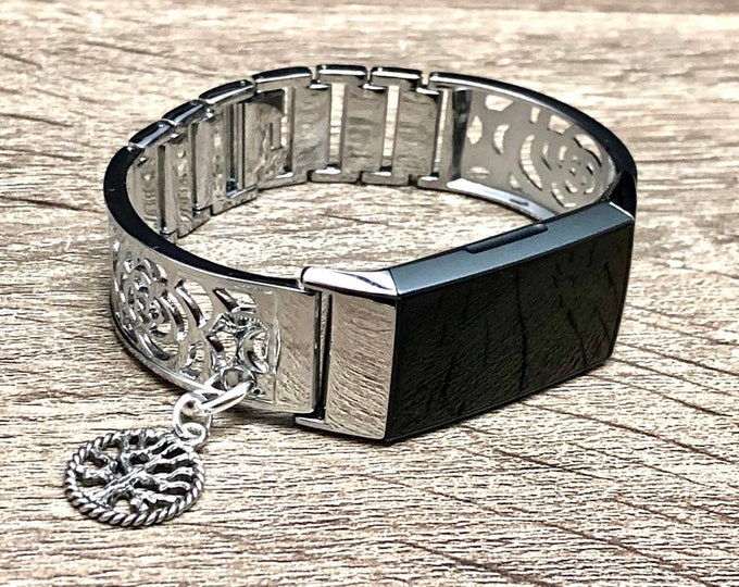 Silver Metal Fitbit Charge 4 Band Women Style Silver Fitbit Bangle with Tree of Life Medallion Fitbit Charge 4 Bracelet Fitbit Jewelry