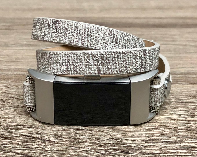 Fitbit Charge 2 Band Handmade Leather Vegan Multi Wrap Fitbit Charge 2 Wristband Luxury Stone Grey Color Unisex Fitbit Charge 2 Jewelry