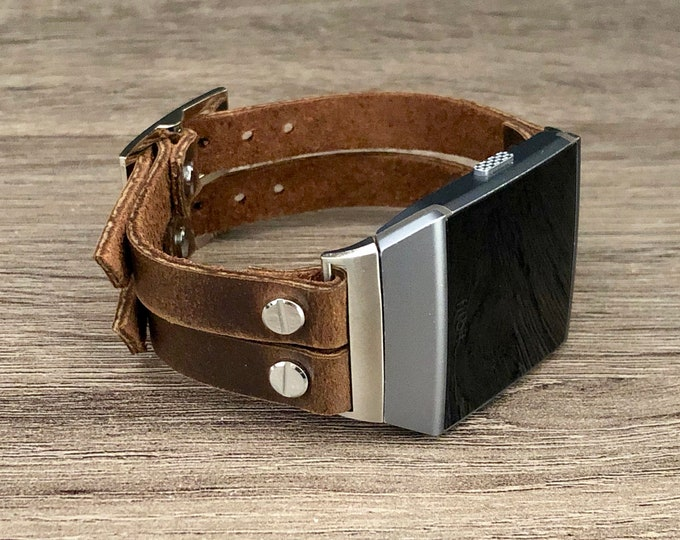 Fitbit Ionic Band Leather Fitbit Ionic Bracelet Adjustable Vintage Brown Leather Fitbit Ionic Strap Silver Fitbit Ionic Watch Band Cuff