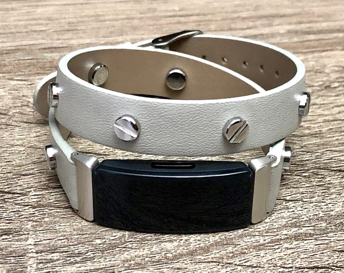 Gray Fitbit Inspire HR Band, Vegan Leather Fitbit Inspire HR Strap, Fitbit Inspire HR Bracelet, Steampunk Fitbit Inspire Wristband Jewelry