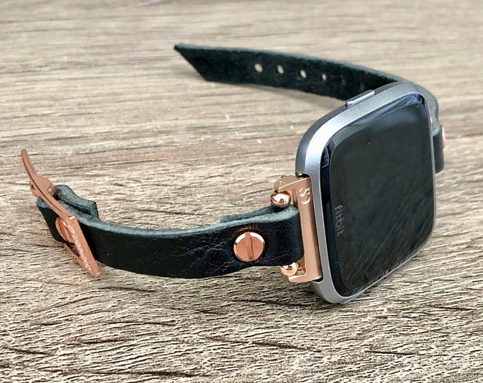 Black Leather & Rose Gold Fitbit Versa 2 Watch Band Women Fitbit Versa Bracelet Slim Fitbit Versa Lite Strap Luxury Smart Watch Wristband