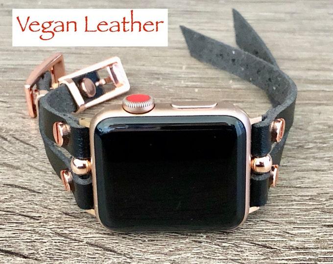 Apple Watch Vegan Leather Bracelet 38mm 40mm 42mm 44mm iWatch Strap Band Rose Gold Apple Watch Black Wristband Women Smart Watch Wrist Band