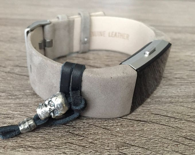Replacement Bracelet For Fitbit Charge 2 Activity Tracker Handmade Grey Leather Band Adjustable Fitbit Charge 2 Skull Bracelet Skull Charm