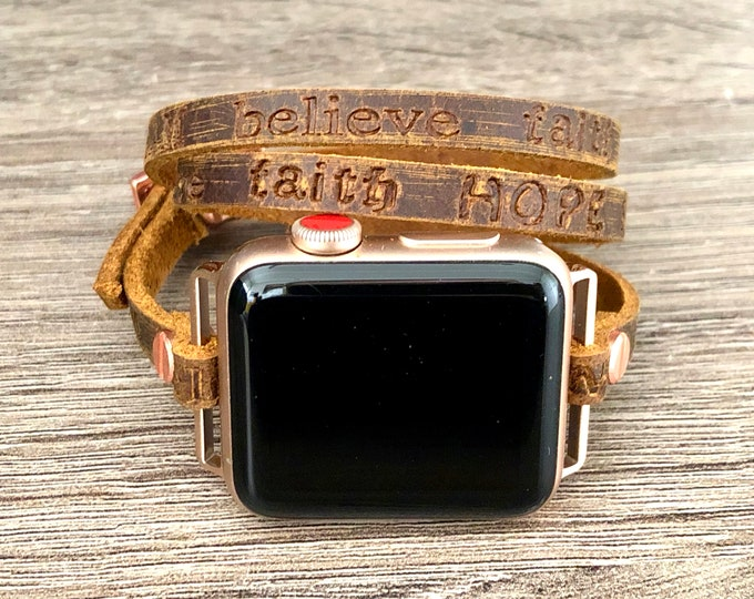 Vintage Brown Apple Watch Band 38mm 40mm Women iWatch Embossed Leather Apple Watch Strap Rose Gold iWatch Band 42mm 44mm Strap Bracelet Wrap