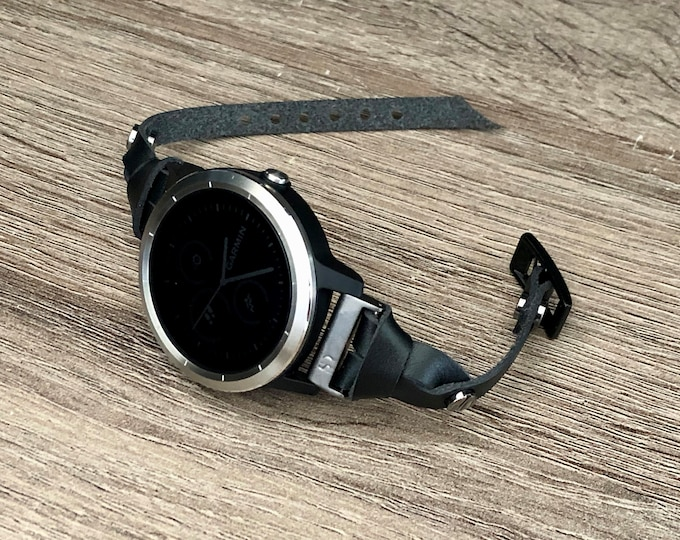 Classic Forerunner 645 Watch Bracelet Handmade Garmin Watch Strap Black Genuine Leather Garmin Forerunner 245 Watch Band Jewelry Wristband