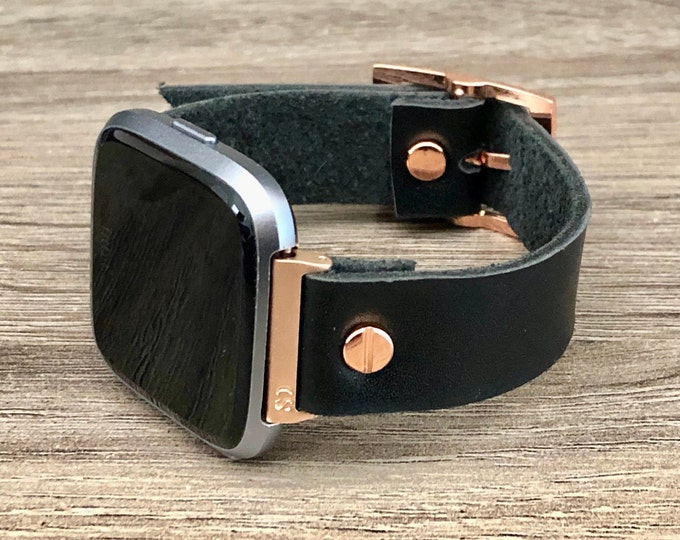 Rose Gold Fitbit Versa 2 Band Black Leather Fitbit Versa Lite Watch Strap Adjustable Fitbit Versa Band 18mm Genuine Leather Watch Wristband
