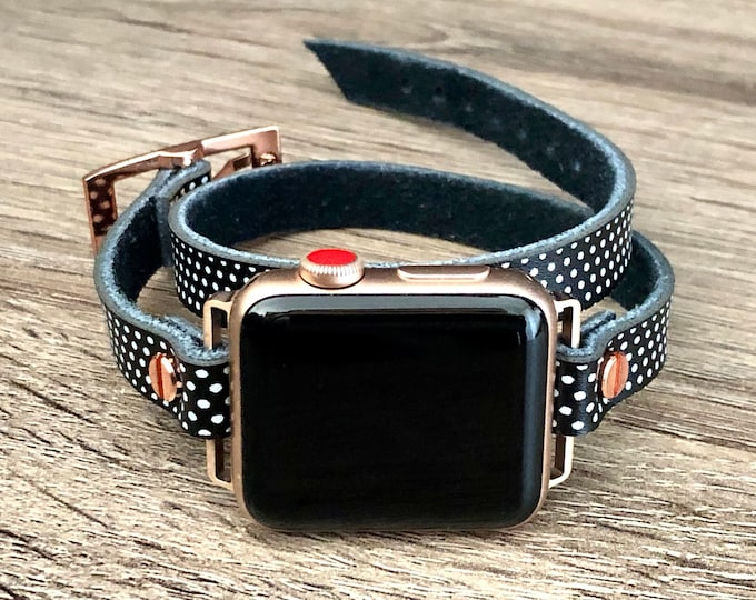Polka Apple Watch Band, 38mm 40mm 42mm 44mm, Apple Watch Bracelet, Rose Gold Apple Watch Wristband, Vintage Leather Strap, Rustic Strapband