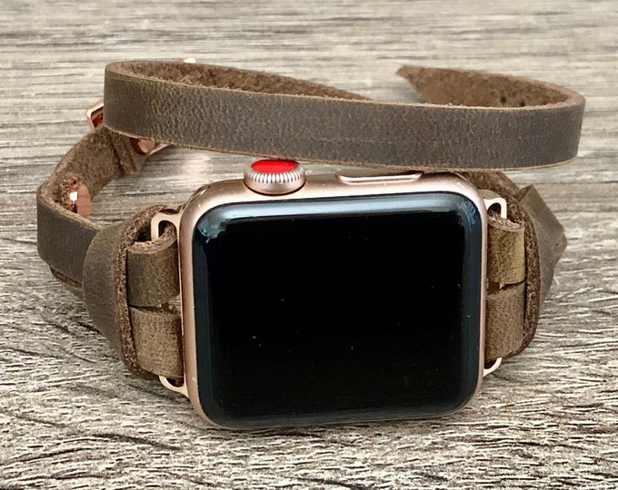 Apple Watch Band Rose Gold & Rustic Brown Leather Bracelet 38mm 40mm 42mm 44mm iWatch Strap Women Apple Watch Slim Vintage Leather Wristband