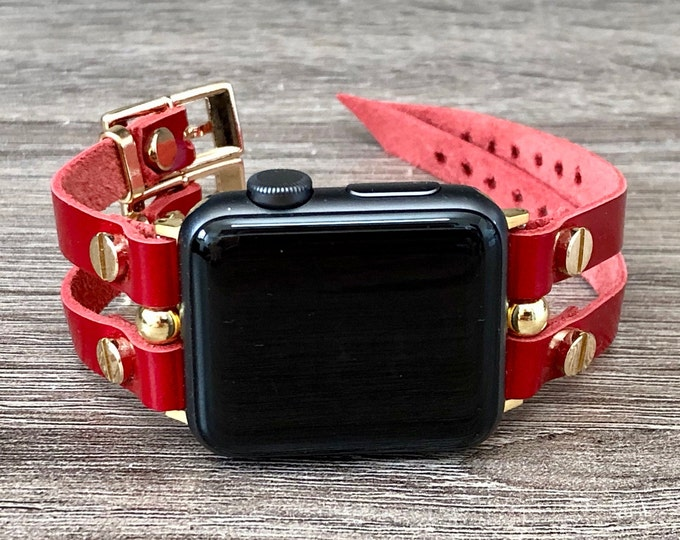 Red & Gold Apple Watch Band 38mm 40mm 42mm 44mm Leather Strap Bracelet Women iWatch Band Jewelry Apple Watch Wristband Series 1,2,3,4,5