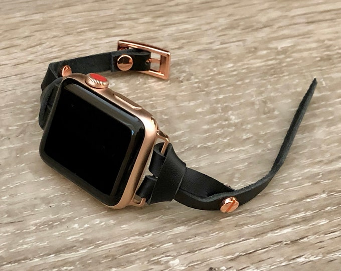 Apple Watch Band Rose Gold & Black Leather Bracelet 38mm 40mm 42mm 44mm iWatch Women Bracelet iWatch Strap Apple Watch Slim Leather Bracelet