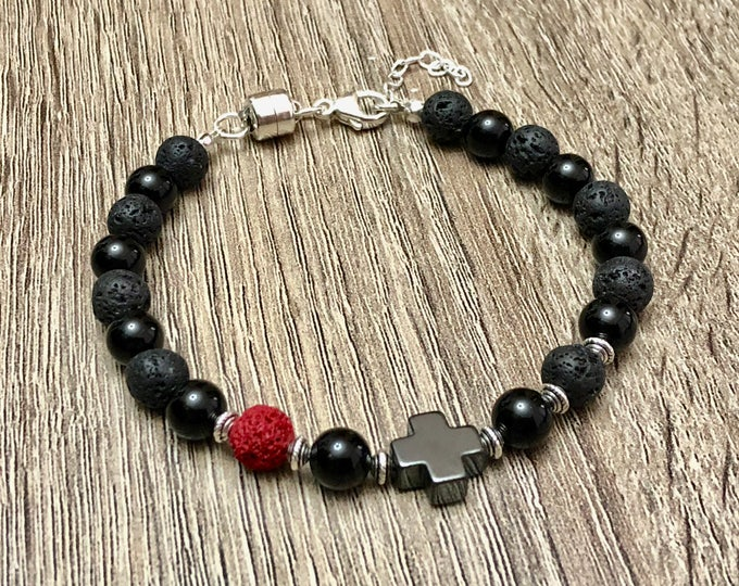 Luxury Onyx & Lava Beads Bracelet Handmade Stones Band Jewelry Perfectly Tailored to Fit Your Wrist 925 Jewelry Sterling Silver Magnet Clasp