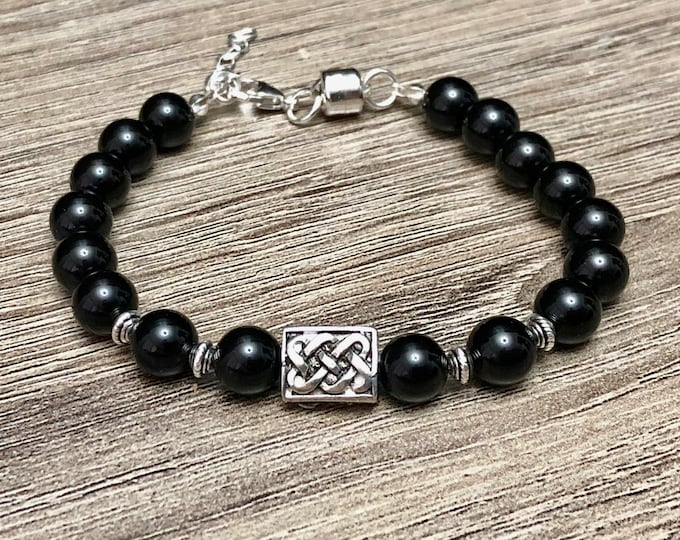 Luxury Onyx Jewelry Bracelet Handmade Natural Stones Band 925 Jewelry Sterling Silver Magnet Clasp Perfectly Tailored to Fit Your Wrist Gift