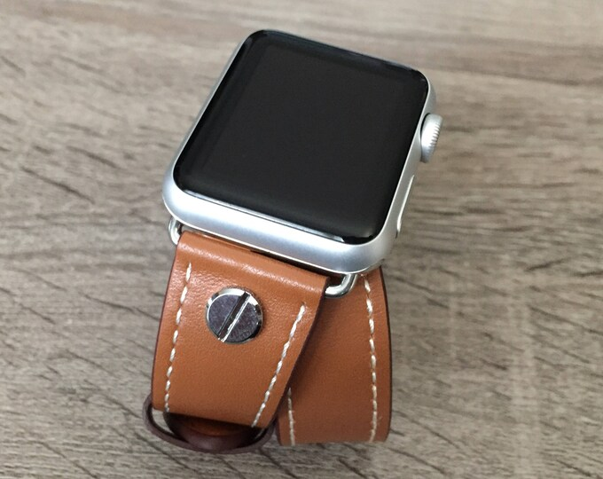 Brown Leather Band for Apple Watch All Series Vegan Handmade Double Wrap Band Silver Rivets Wristband Elegant Multi Wrap Apple Watch Band
