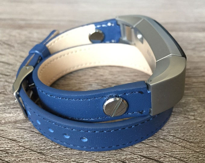 Navy Blue Leather Band For Fitbit Alta HR Double Wrapped Eco Friendly Leather Fitbit Alta Accessories Fitbit Alta Bands Fitbit Alta Bracelet