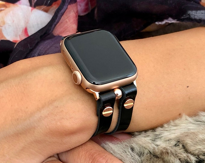 Black Italian Leather Apple Watch Band 38mm 40mm 42mm 44mm Rose Gold Apple Watch Strap Women iWatch Bracelet Jewelry Apple Watch Wristband