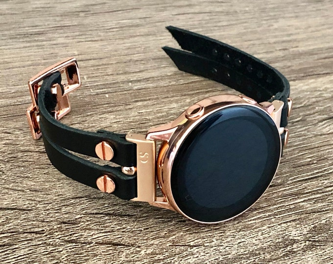 Black Leather Samsung Galaxy Active2 Band 40mm 44mm Samsung Galaxy Watch 42mm Bracelet Rose Gold Galaxy Active Strap Women Wrist Jewelry