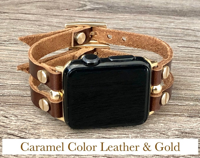 Caramel Leather & Gold Apple Watch Band 38mm 40mm 42mm 44mm Apple Watch Women iWatch Band Jewelry Apple Watch Wristband