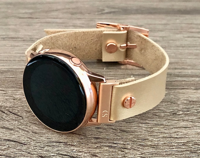 Vegan Leather Samsung Galaxy Active Band, Rose Gold Galaxy Watch Active2 Bracelet 40mm 44mm, Latte Color Leather Rose Gold Watch Band