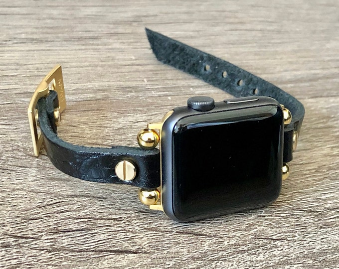 Black Leather & Gold Apple Watch Band 38mm 40mm 42mm 44mm Women Apple Watch Strap Apple Watch Wristband Slim Grain Leather iWatch Bracelet