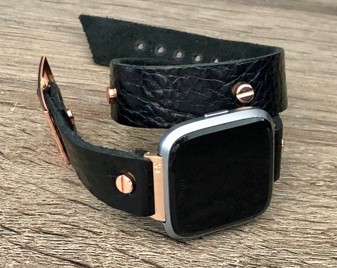 Elegant Rose Gold Fitbit Versa 2 Band Black Leather Fitbit Versa 2 Watch Strap Double Wrap Fitbit Versa Lite Watch Bracelet Adjustable Size