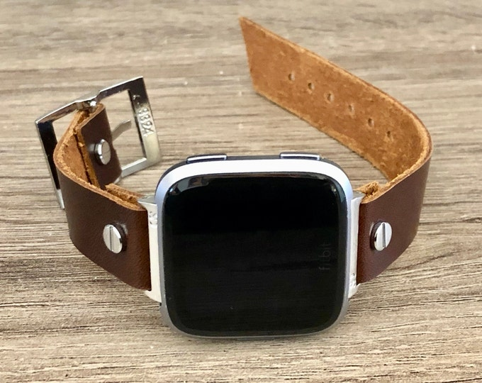 Fitbit Versa 2 Band Silver Fitbit Versa Lite Watch Adjustable Chocolate Brown Leather Fitbit Versa Band Genuine Leather Watch Wristband