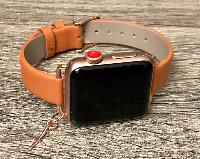 Luxury Brown Leather Bracelet for Apple Watch All Series Handmade Rose Gold Elegant Slim Cross Apple Watch Band Mothers Day Gift Jewelry