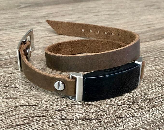 Leather Fitbit Inspire HR Band Silver Inspire Strap Bracelet Wrap Genuine Vintage Distressed Style Fitbit Inspire Bracelet Jewelry Wristband