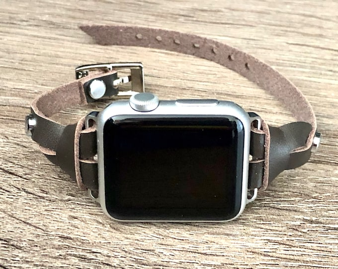 Dark Brown Leather Apple Watch Band 38mm 40mm 42mm 44mm Apple Watch Strap Bracelet iWatch Band Slim Slim Leather & Silver Apple Watch Strap