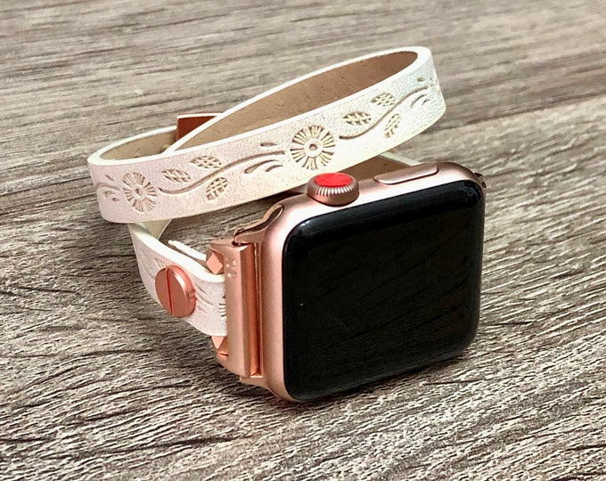 Pink Rose Gold & White Leather Bracelet for Apple Watch 38mm 40mm iWatch Band Vegan Leather Apple Watch Band Women iWatch 42mm 44mm Bracelet
