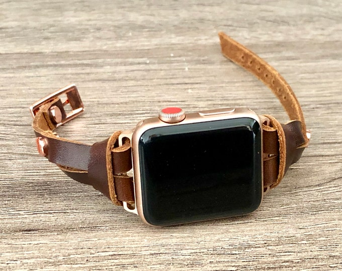 Rose Gold Apple Watch Band 38mm 40mm 42mm 44mm iWatch Bracelet Adjustable Size Slim Dark Bronze Color Leather Wristband Rose Gold Watch Band