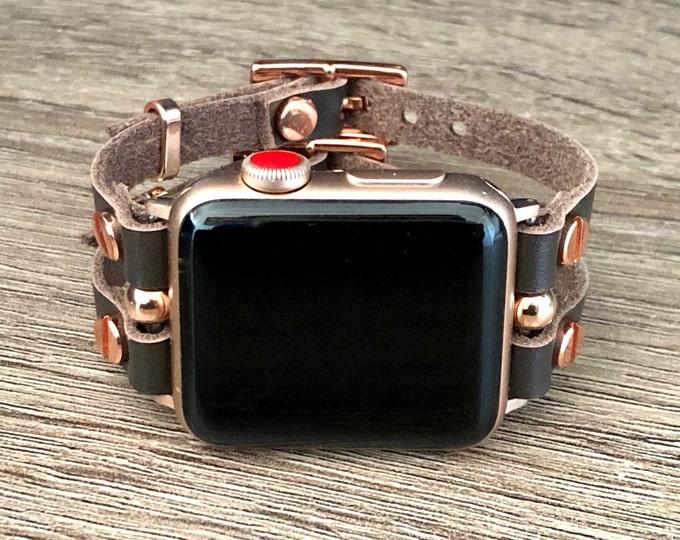 Rose Gold Apple Watch Band 38mm 40mm 42mm 44mm Dark Brown Leather Apple Watch Bracelet Strap Women iWatch Band Jewelry Apple Watch Wristband