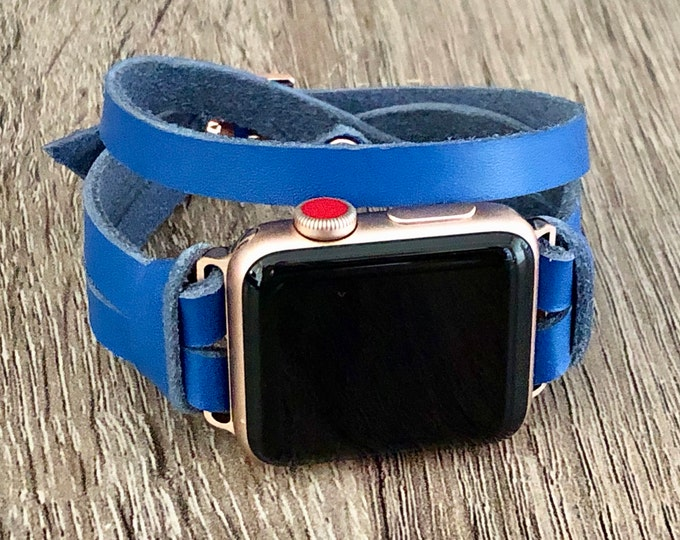 Apple Watch Band 38mm 40mm 42mm 44mm Woman Bracelet iWatch Strap Blue Leather & Rose Gold Apple Watch Bracelet iWatch Wristband Watch Strap