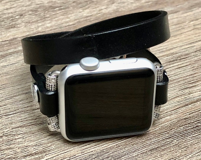 Classic Black Leather Apple Watch Band 38-40mm 42-44mm Double Wrap Apple Watch Strap Adjustable Apple Watch Jewelry Wristband iWatch Band