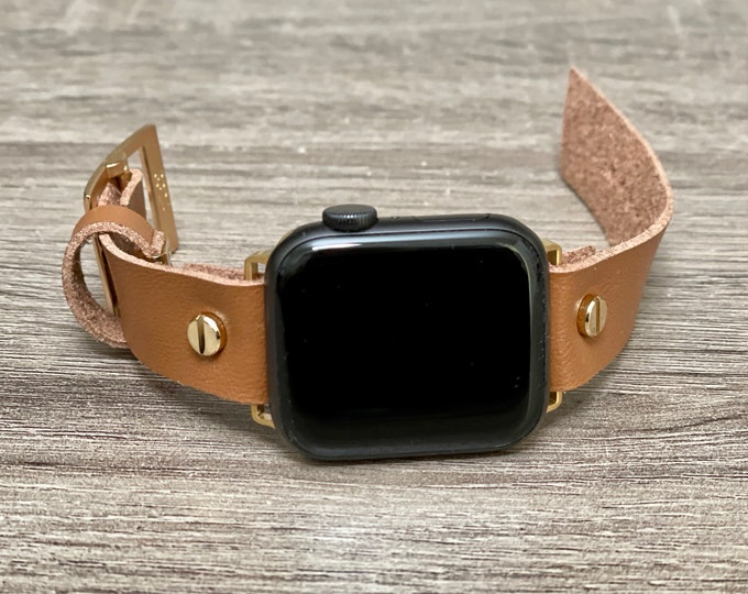 Vegan Faux Leather Apple Watch Band 38mm 40mm 42mm 44mm Gold Apple Watch Strap iWatch Band Adjustable Light Brown Apple Watch Wristband Cuff