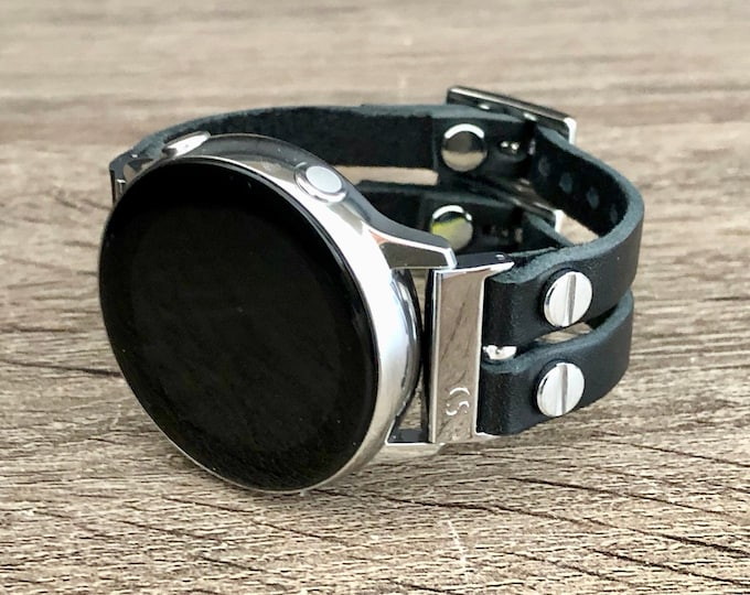 Samsung Galaxy Active 2 Band 40mm 44mm Samsung Galaxy Watch 42mm Bracelet Black Leather & Silver Galaxy Active Strap Wristband Birthday Gift