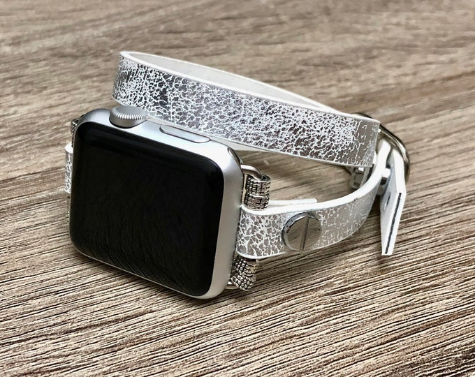Sparkly Snow White Leather Bracelet for Apple Watch Handmade Apple Watch Band Adjustable Apple Watch Wristband Eco Friendly Jewelry Band
