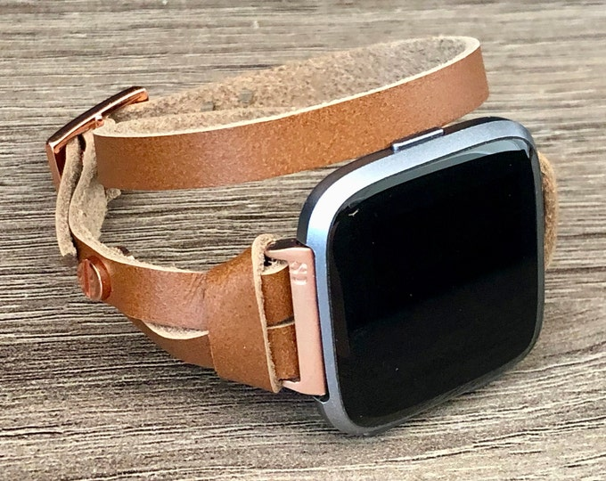 Fitbit Versa 2 Band Women Double Wrap Fitbit Versa 2 Bracelet Adjustable Size Rose Gold & Bronze Leather Fitbit Versa Lite Band Wristband