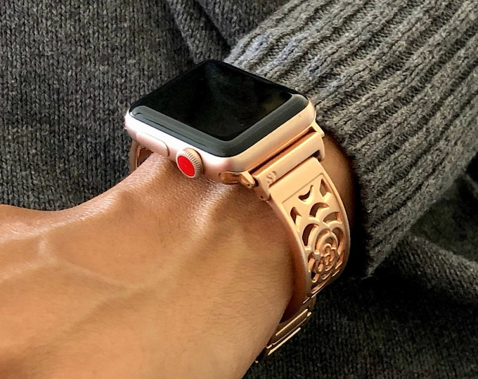 Rose Gold Apple Watch Band 38mm 40mm 42mm 44mm Bracelet iWatch Band Women Adjustable Apple Watch Bangle iWatch Band Jewelry