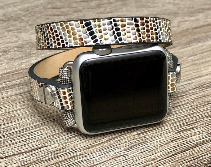 Vegan Alligator Skin Bracelet for Apple Watch Handmade Apple Watch Band Adjustable Apple Watch Wristband Double Wrap Eco Friendly Jewelry