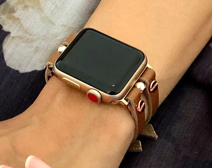 Leather Apple Watch Band 38mm 40mm 42mm 44mm Rose Gold Apple Watch Strap Women iWatch Band Jewelry Slim Bracelet Apple Watch Wristband