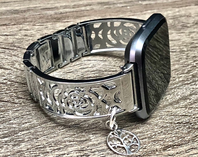 Fitbit VERSA 2 Watch Band Shiny Silver Fitbit Versa 2 Band for Women Adjustable Fitbit Versa 2 Watch Bangle Fitbit Versa Lite Bracelet