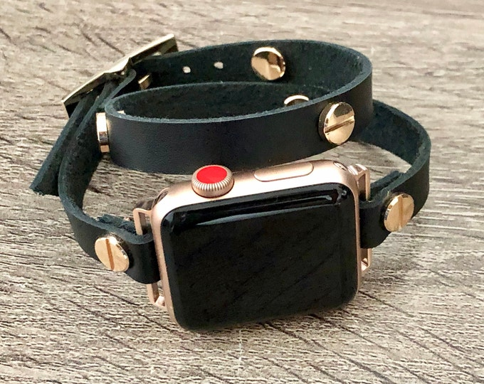 Black Leather Rose Gold Apple Watch 38mm 40mm 42mm 44mm Band Women Style iWatch Double Wrap Genuine Leather Strap Bracelet Elegant Wristband