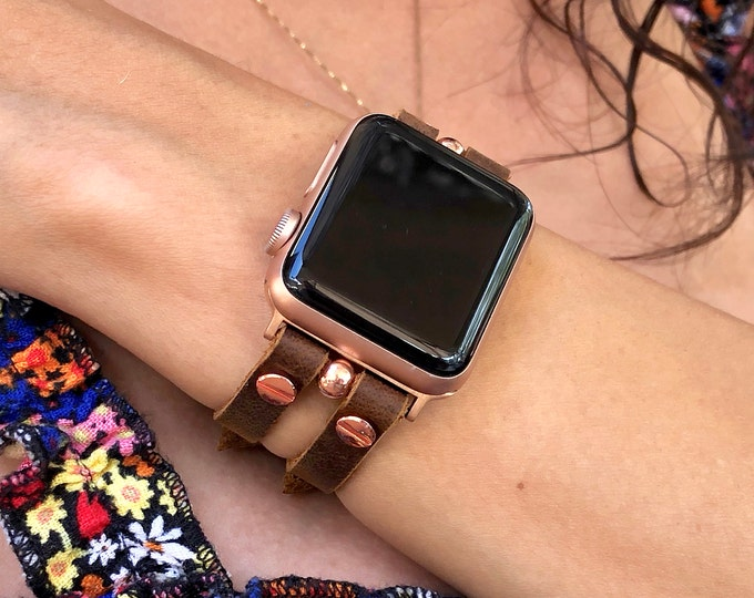 Rose Gold & Walnut Color Leather Apple Watch Band 38mm 40mm 42mm 44mm Apple Watch Bracelet iWatch Band Strap Apple Watch Cuff Wristband